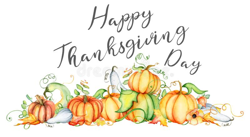 Van de waterverfpompoen en herfst bladerenkaart Oogstsamenstelling Gelukkig Thanksgiving day Hand getrokken vectorillustratie stock illustratie