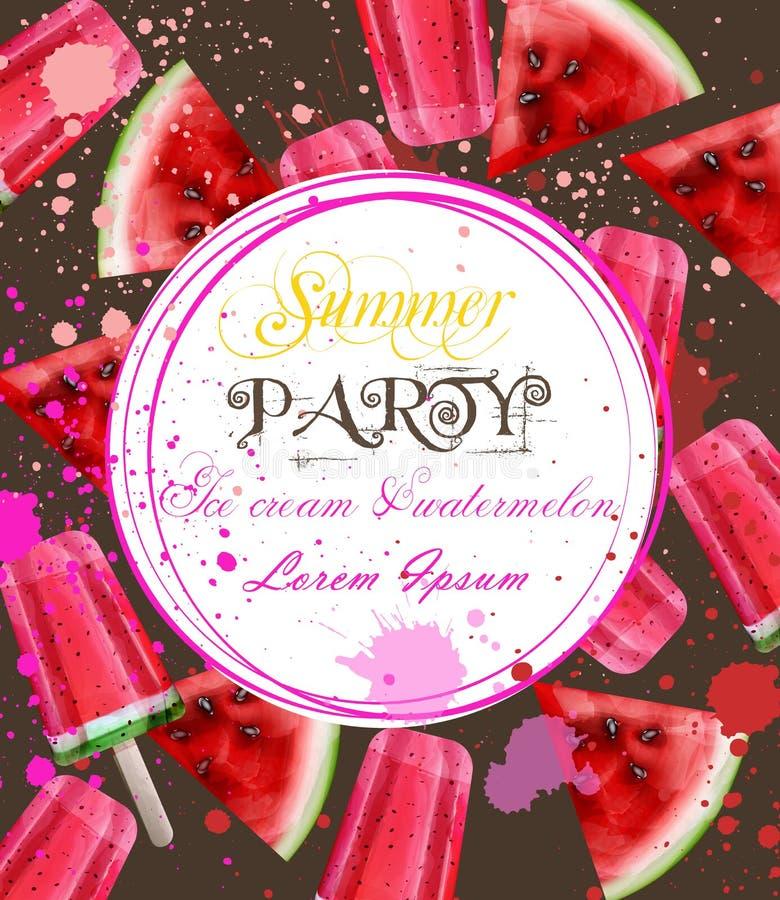 Van de waterverfroomijs en watermeloen kaartvector De zomerachtergronden van de partijuitnodiging vector illustratie