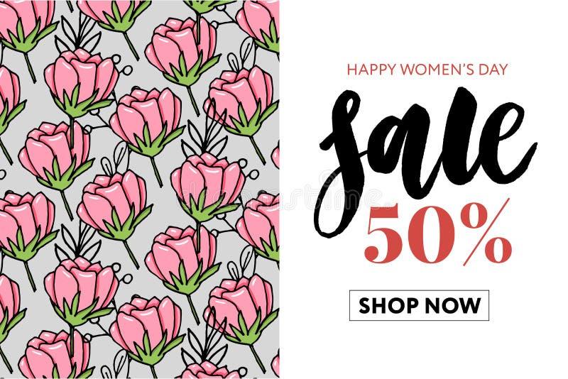 Van de de waterverfverkoop van de bloemen mooie bloemenkunst de bannerstijl voor 8 Maart vector illustratie