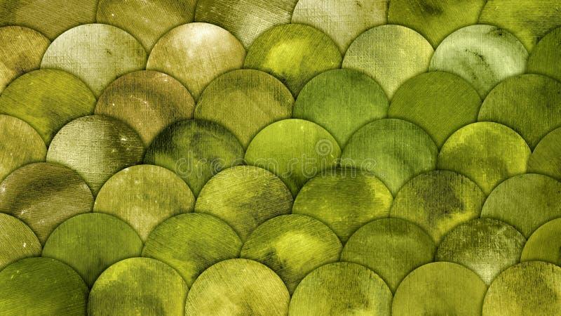 Van de Waterverfvissen van meerminschalen Achtergrond van Grunge squame de Groene vector illustratie