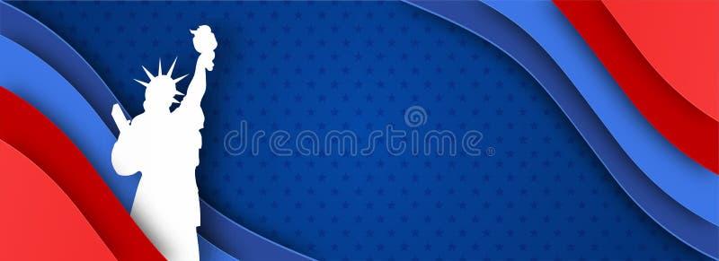 Van de Webkopbal of banner ontwerp met Standbeeld van Vrijheid op document besnoeiing stock illustratie