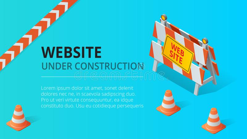 Van de website in aanbouw pagina vectorillustratie als achtergrond Vlakke isometrische stijl vectorillustratie royalty-vrije illustratie