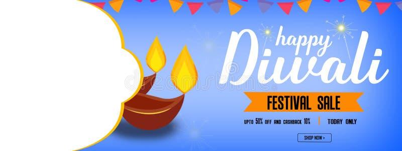 Van de websitekopbal of banner ontwerp met illustratie van realistische verlichte olielampen voor het festival en de ruimte van D stock illustratie