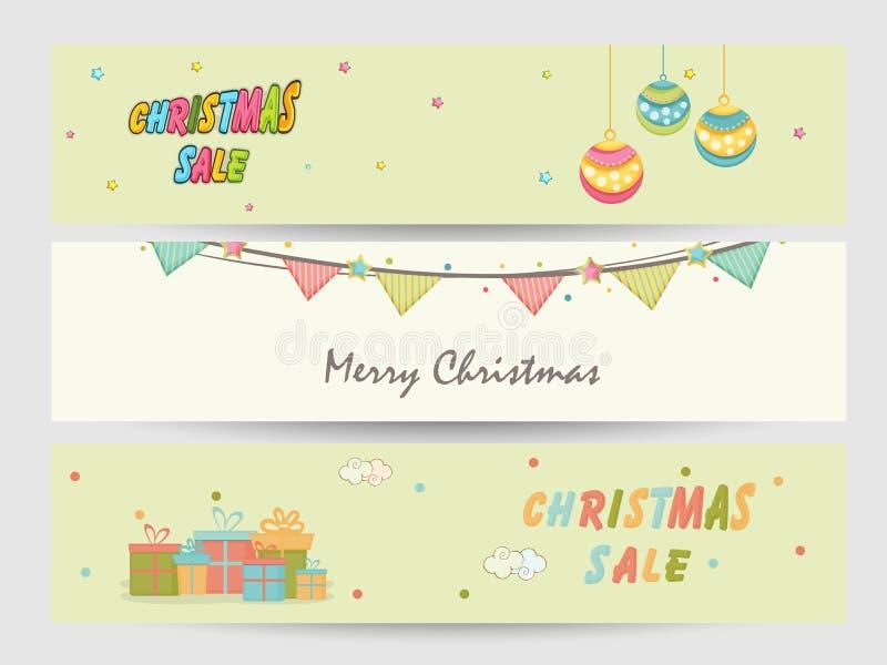 Van de websitekopbal of banner ontwerp voor Kerstmisverkoop stock illustratie