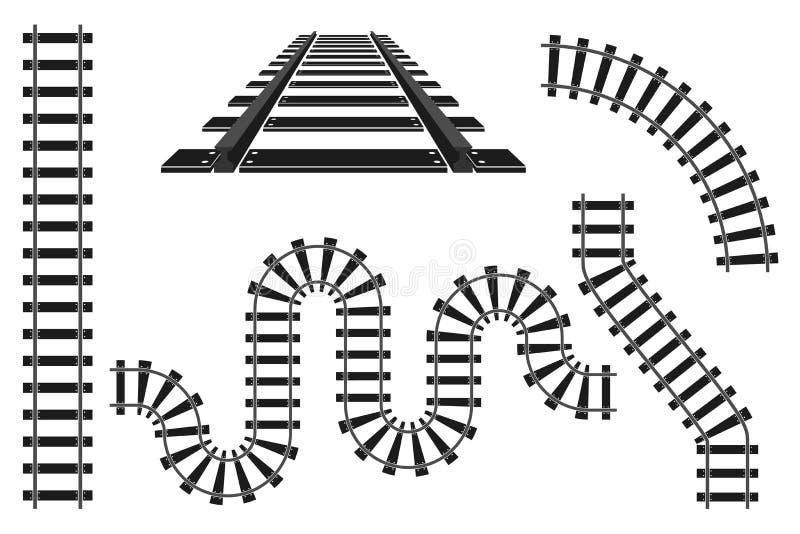 Van de wegsporen van de treinspoorweg van de aannemerselementen de vectorillustratie stock illustratie