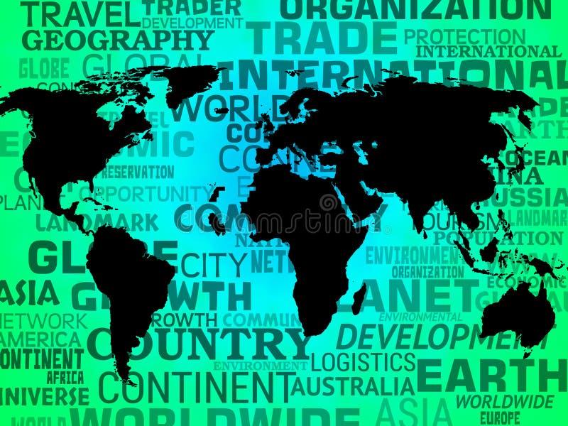 Van de wereldkaart Internationaal of Globaal Betekenen het Als achtergrond vector illustratie