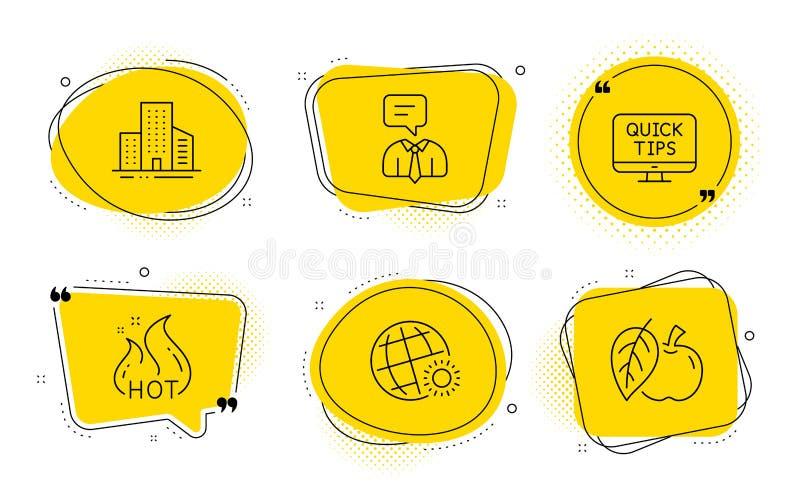 Van de van wereldweer, Gebouwen en Ondersteunende dienst geplaatste pictogrammen Webleerprogramma's, Hete verkoop en Apple-tekens vector illustratie