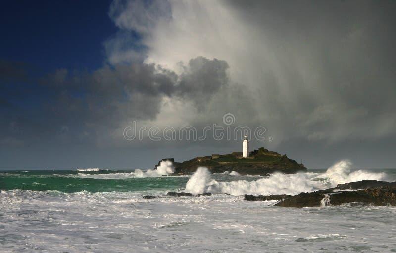 Van de West- vuurtoren van Godrevy Cornwall stock foto