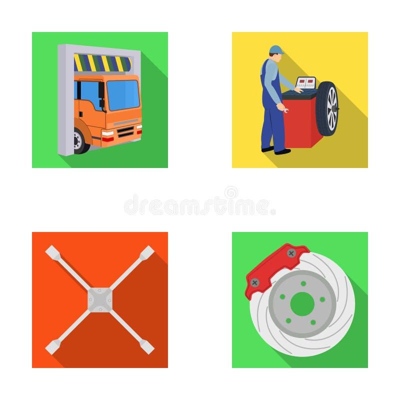 Van de van de wiel het in evenwicht brengen, moersleutel en rem schijf vlakke pictogrammen in vastgestelde inzameling voor ontwer royalty-vrije illustratie