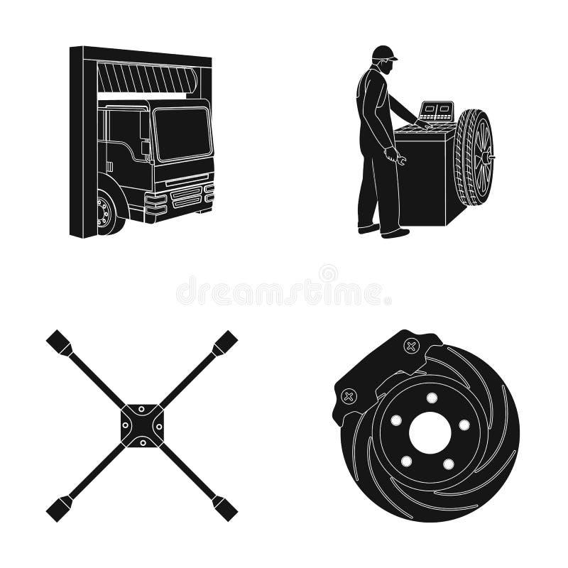 Van de van de wiel het in evenwicht brengen, moersleutel en rem schijf zwarte pictogrammen in vastgestelde inzameling voor ontwer vector illustratie