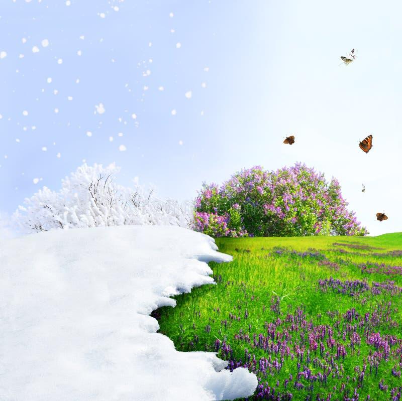 Van de winter aan de lente royalty-vrije stock afbeelding
