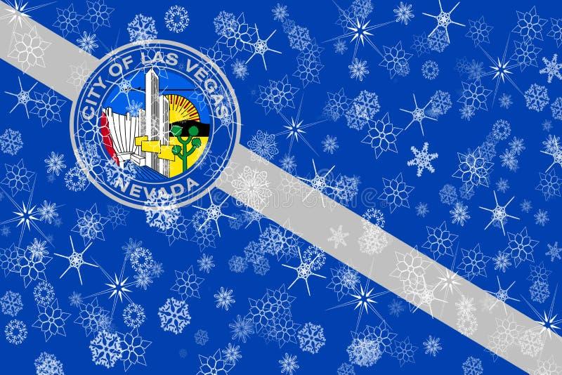 Van de wintersneeuwvlokken van Las Vegas, Nevada de vlagachtergrond De Verenigde Staten van Amerika royalty-vrije illustratie
