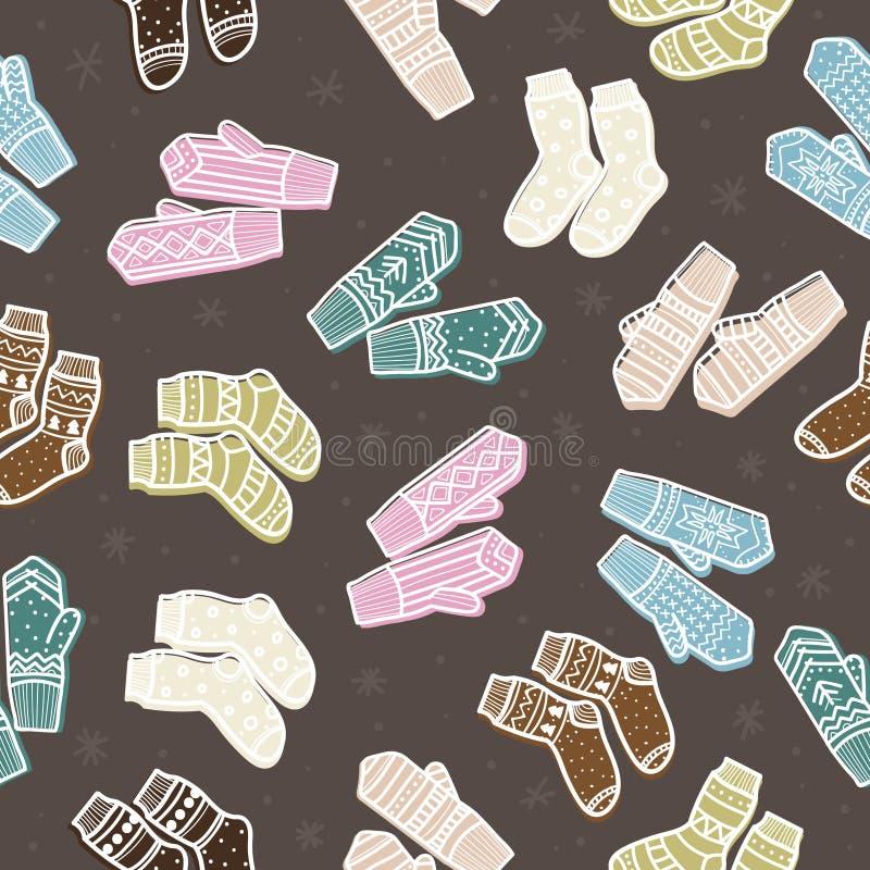 Van de wintervuisthandschoenen en sokken naadloos patroon Hand getrokken stijl Kerstmis decoratieve elementen stock illustratie