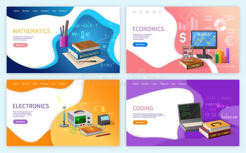 Van de wiskundealgebra en Meetkunde Schoolonderwerp stock illustratie
