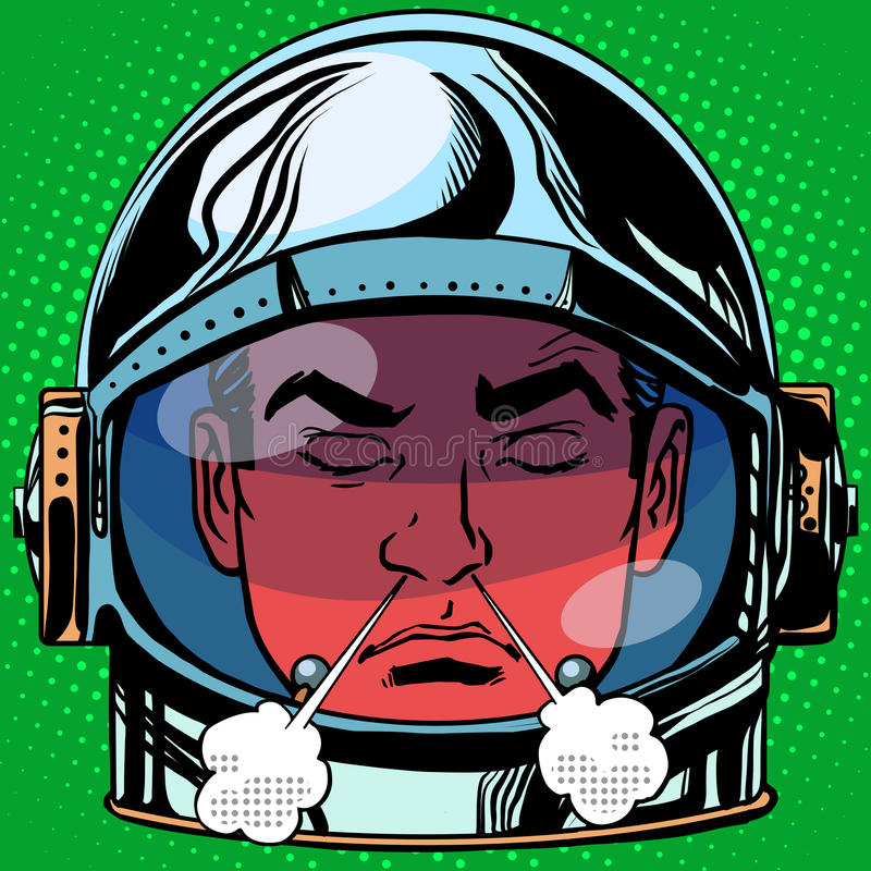Van de woedeemoji van de Emoticonwoede retro de astronaut van de het gezichtsmens royalty-vrije illustratie