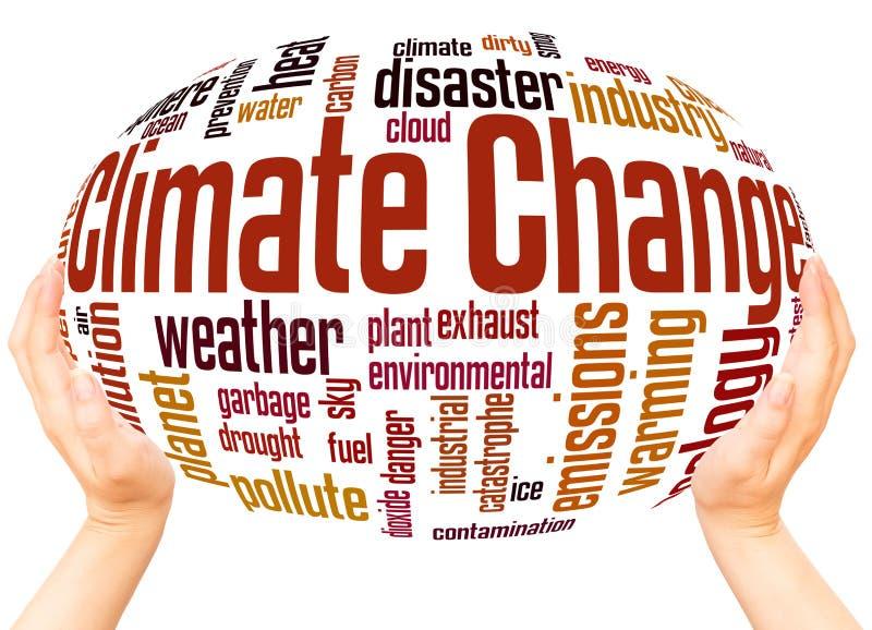 Van de de wolkenhand van het klimaatveranderingwoord het gebiedconcept royalty-vrije stock afbeelding