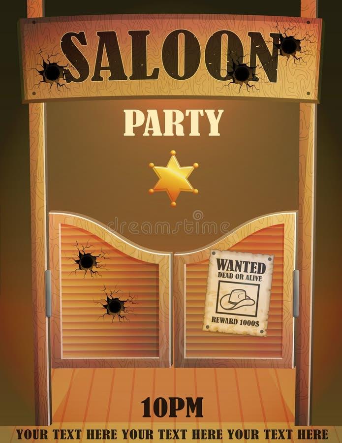 Van de de zaalbar van het cowboy het wilde westen malplaatje van het de ingangsontwerp vector illustratie