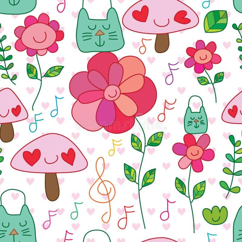 Van de de zakbloem van de Ecokat van de de glimlach het gelukkige installatie van de de muzieknota naadloze patroon vector illustratie