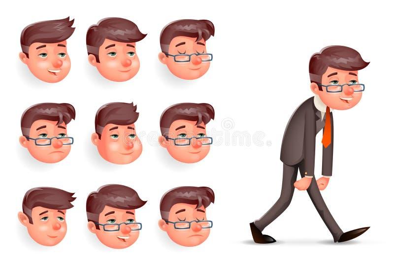 Van de Zakenmanwalk cartoon design van de emoties Tevreden Gelukkige Tevreden Vermoeide Vermoeide Moeheid Melancholische Droevige royalty-vrije illustratie