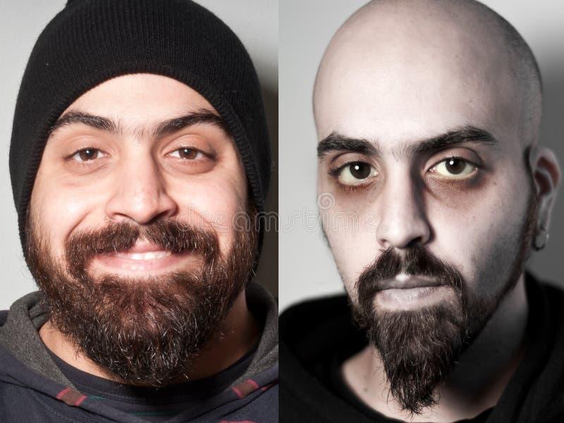 Before and after van de zieke gedrogeerde mens royalty-vrije stock foto