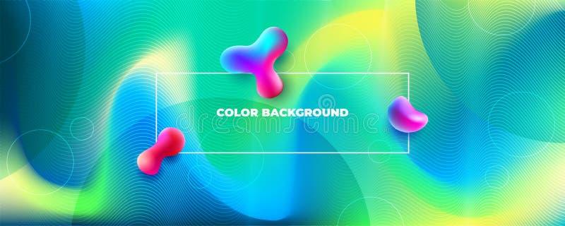 Van de zijde Vloeibaar kleur ontwerp als achtergrond De vloeibare gradi?nt geeft samenstelling gestalte Futuristische ontwerpaffi vector illustratie