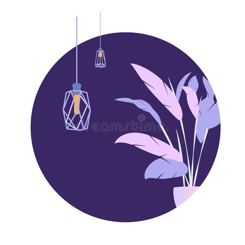 Van de de Zolderlamp van de cirkel de Purpere Installatie Moderne Banner vector illustratie
