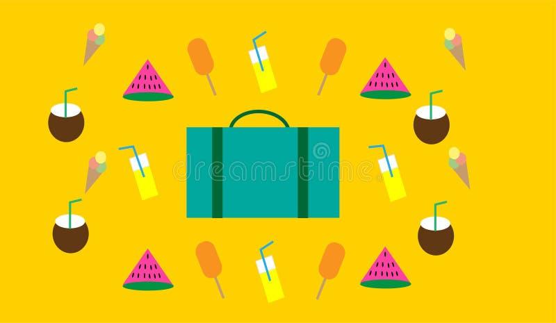 Van de de zomerdag en reis elementen inclusieve watermeloen, roomijs, limonade, kokosnoot en een koffer vector illustratie
