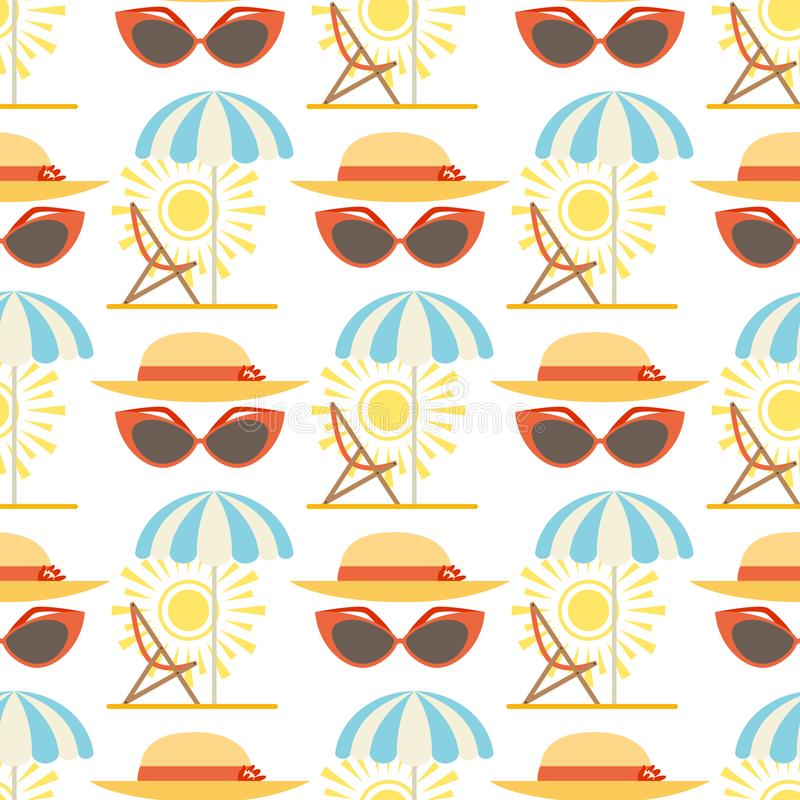 Van de zomerhoeden van strandtoebehoren van de de zonmanier het vector van de het strandreis van de de paraplubescherming GLB moo stock illustratie