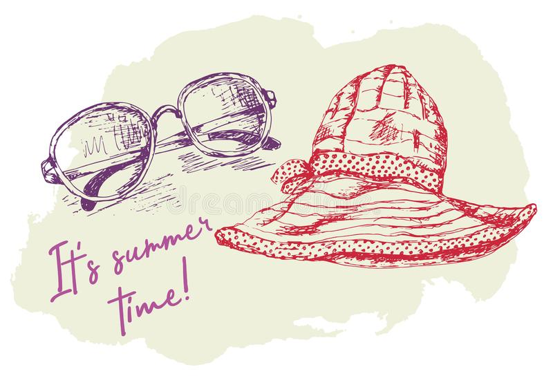 Van de de zomerpret vectorillustratie als achtergrond Heldere kleurrijke achtergrond met de hoed en de zonnebril van de vrouw stock illustratie