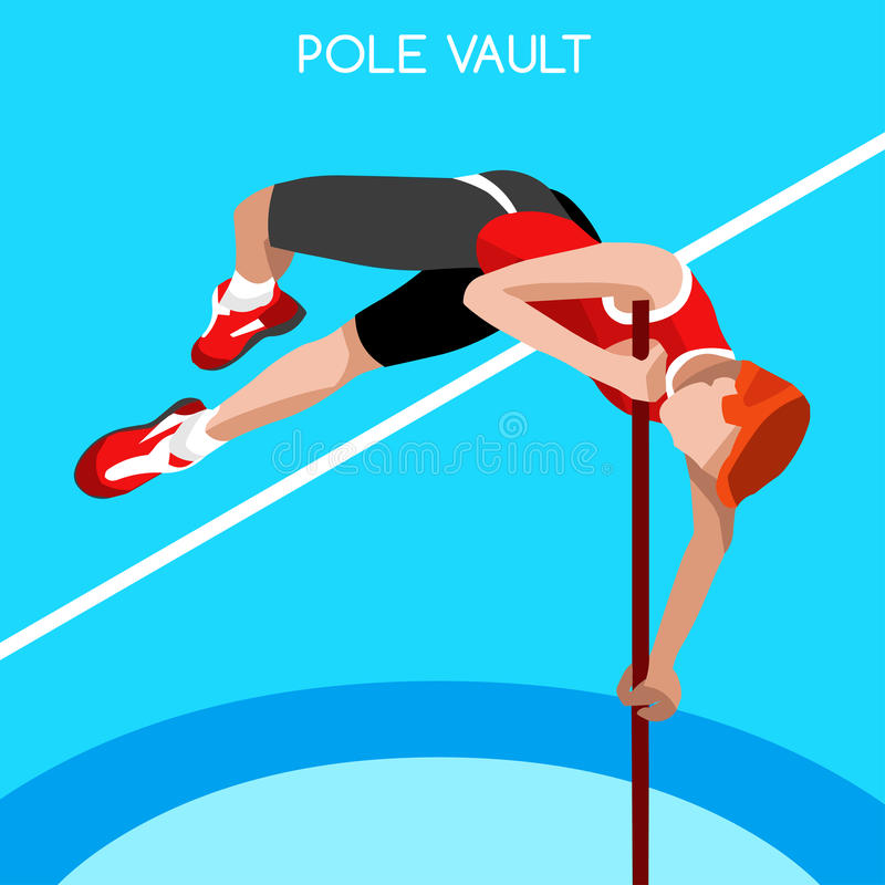 Van de Zomerspelen van het atletiekpolsstokspringen het Pictogramreeks 3D Isometrische Atleet Sportieve Concurrentie van de Kampi vector illustratie