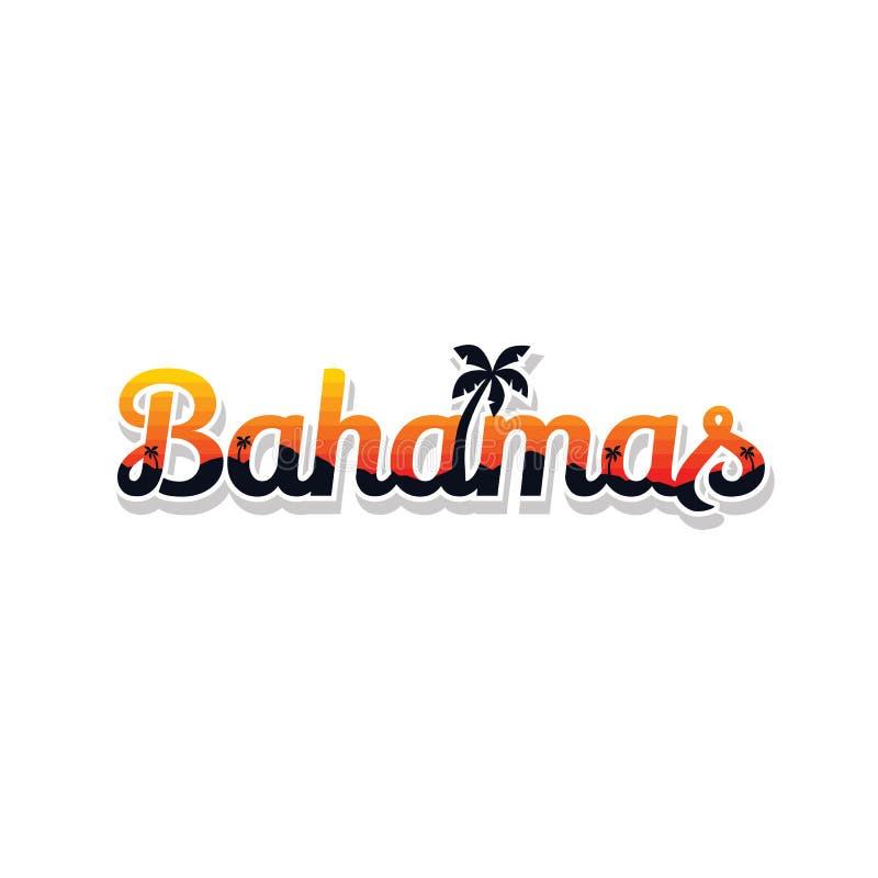 Van de de zomervakantie van de Bahamas van het het strandteken het symboolvector vector illustratie