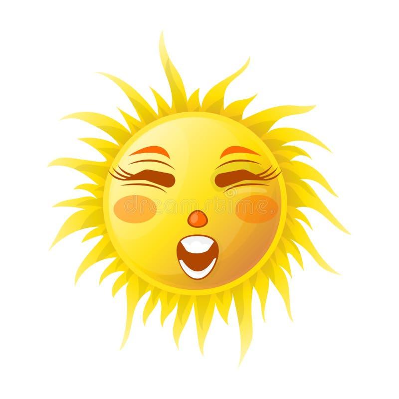 Van de zonglimlach of zomer beeldverhaal emoticon en uitdrukking van het emoji de zonnige gezicht vector illustratie