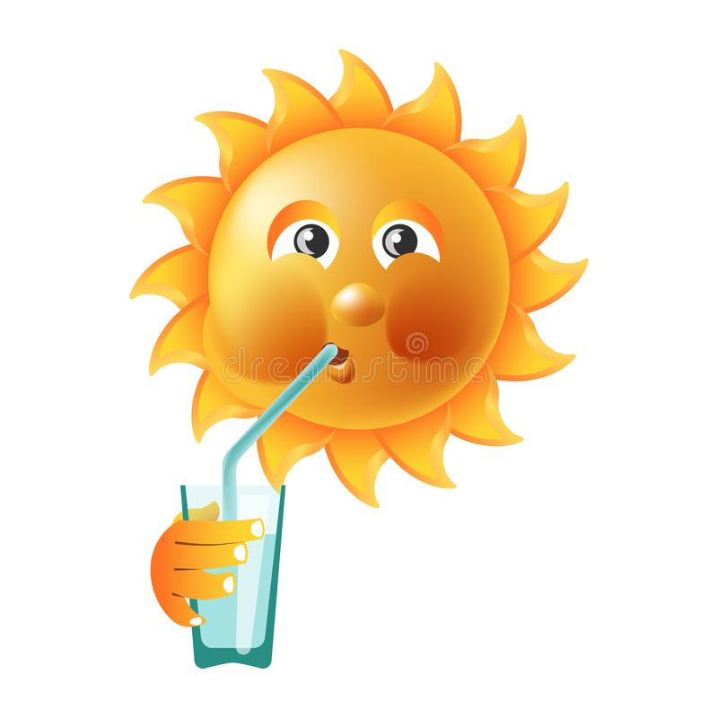 Van de zonglimlach of zomer beeldverhaal emoticon en uitdrukking van het emoji de zonnige gezicht stock illustratie