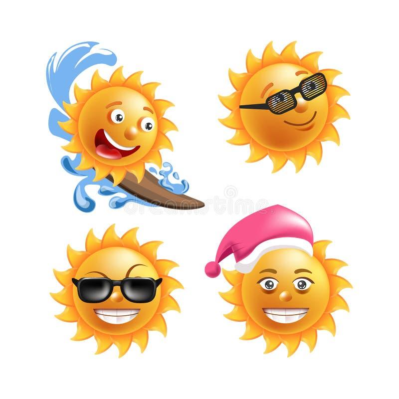 Van de zonglimlachen of zomer beeldverhaal emoticons en gelukkige emojigezichten met uitdrukkingen vector illustratie