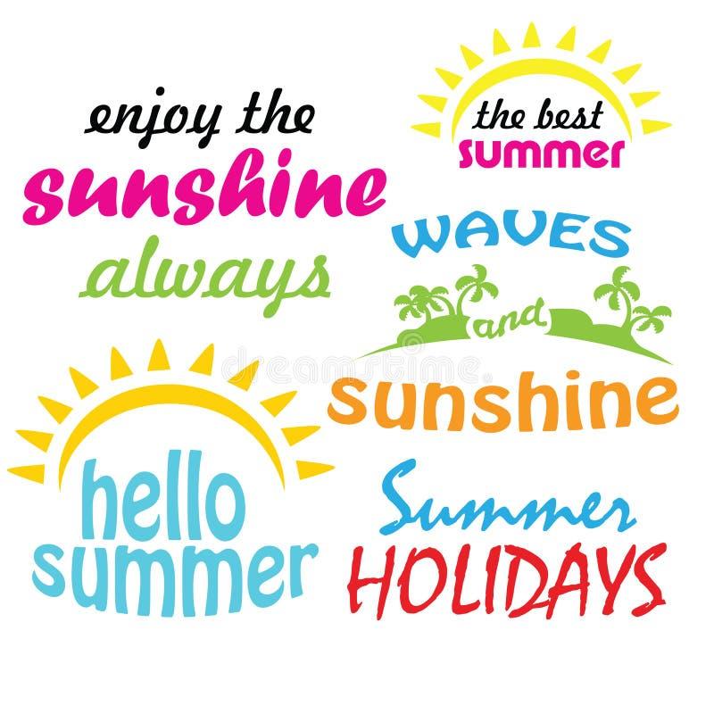 Van de de zonneschijnzon van de de zomertijd seizoengebonden de Vakantie hello de zomer royalty-vrije illustratie
