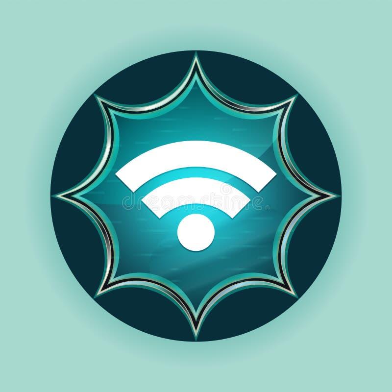 Van de de zonnestraal blauwe knoop van het Wifipictogram magische glazige de hemel blauwe achtergrond vector illustratie