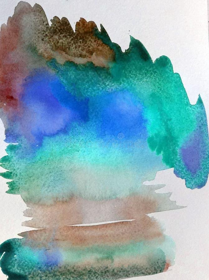 Van de de zonsopgang seaskape avond waterverf het abstracte van de achtergrondwolkenhemel van de de decoratiehand mooie behang vector illustratie