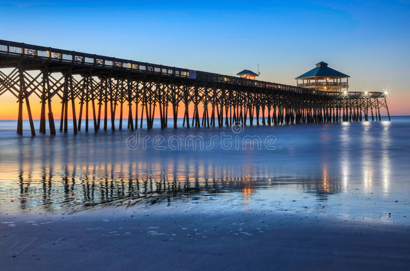 Van de Zuid- pijler van de Visserij van het Strand van de dwaasheid Carolina stock afbeeldingen