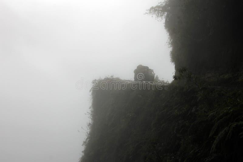 Van on death road, Bolivia stock photography