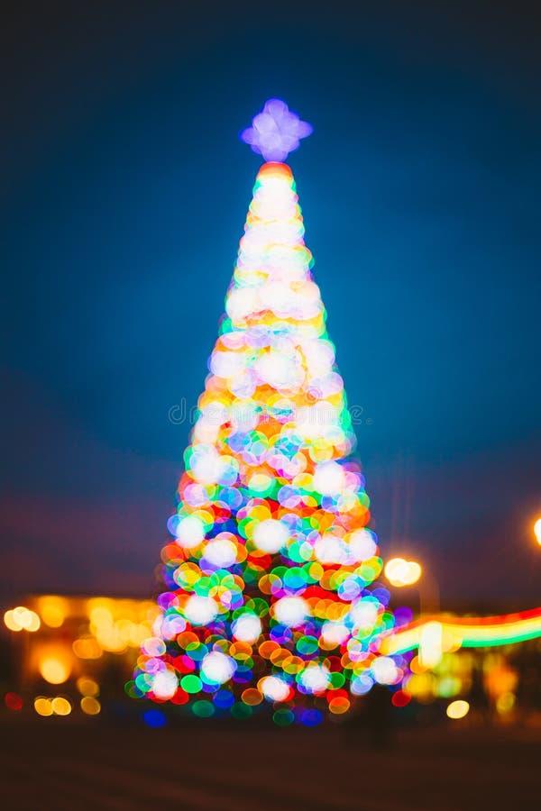 Van Defocused Blauw Bokeh Effect Als achtergrond Ontwerpachtergrond Nieuw jaar stock afbeelding
