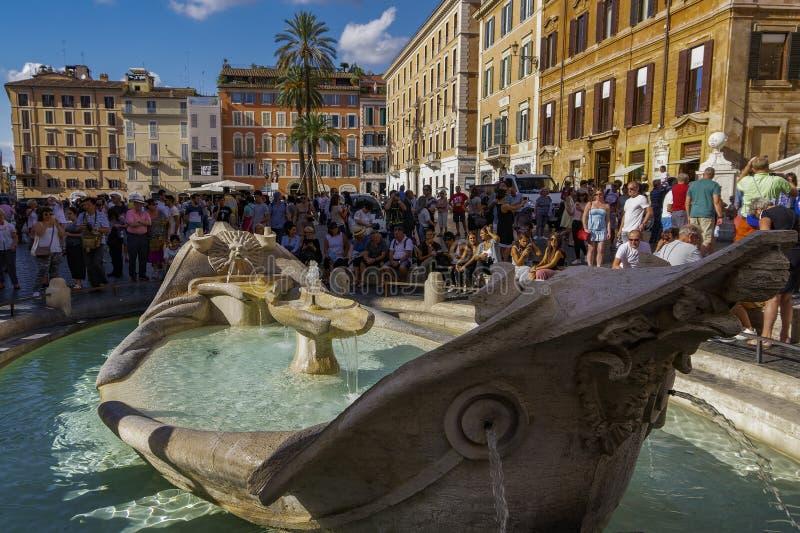 Van dellabarcaccia van Rome, Italië Fontana de dagmening in Piazza Di Spagna royalty-vrije stock afbeelding