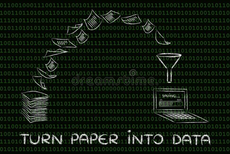 Van document aan gegevens: aftastendocumenten voor een paperless bureau po royalty-vrije illustratie