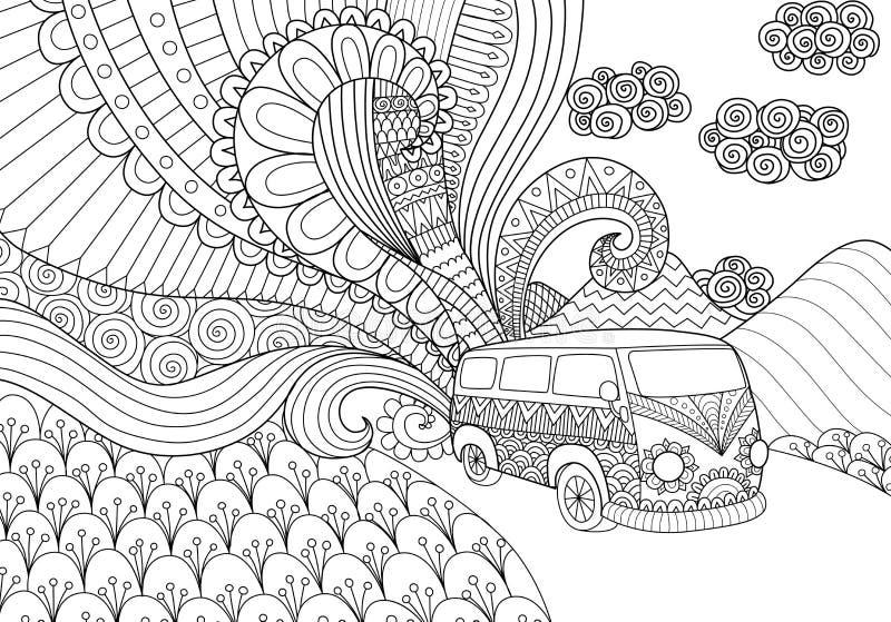 Van doodles ontwerp voor het kleuren van boek voor volwassene royalty-vrije illustratie