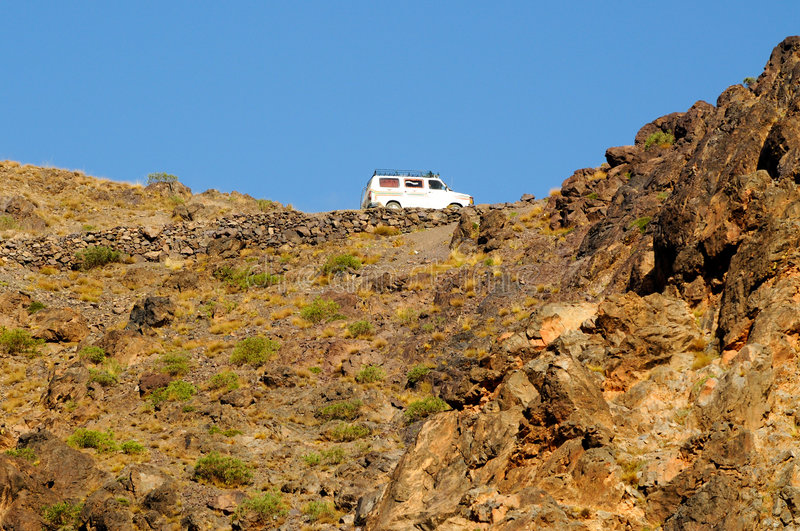 Download Van Driving On High Mountain Road Stock Image - Image: 7241403