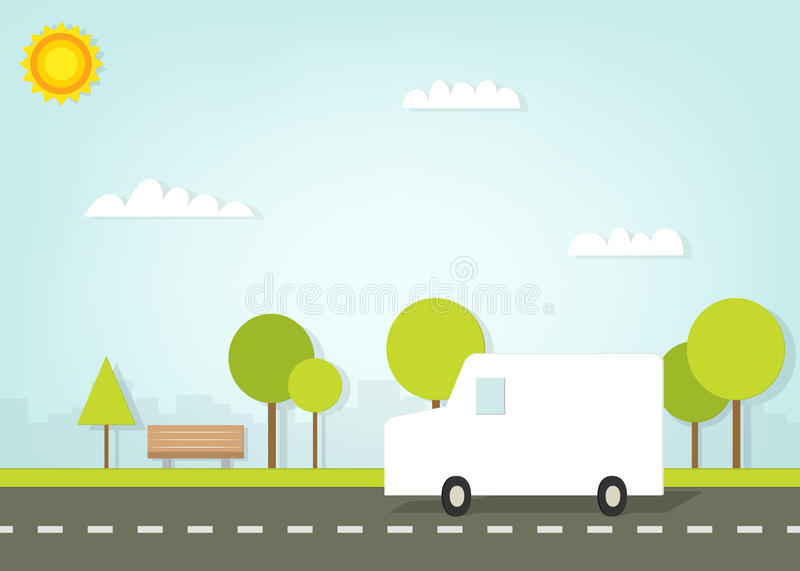 Van driving on road outside the city. This is file of EPS10 format royalty free illustration