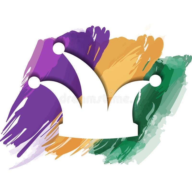 Van een hoed van de narrenmaskerade Carnaval van een narrenhoed op de slagen van de borstel wordt geïsoleerd die vector illustratie