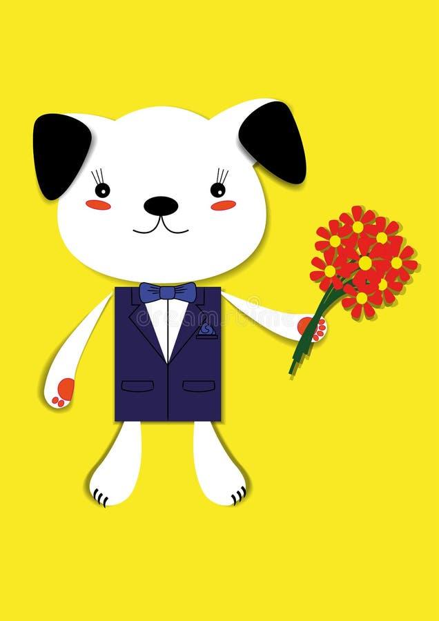 Van een hond met bloemen stock afbeeldingen