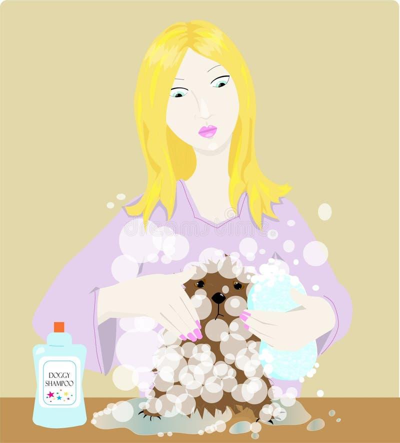 Van een hond shampoo royalty-vrije illustratie