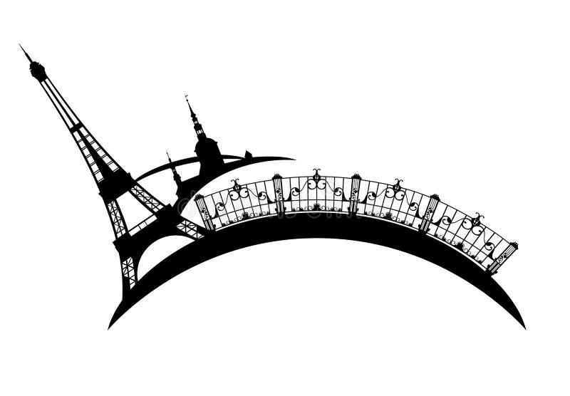 Van Eiffel de toren en van Parijs het vectorontwerp van stadsgezichten stock illustratie
