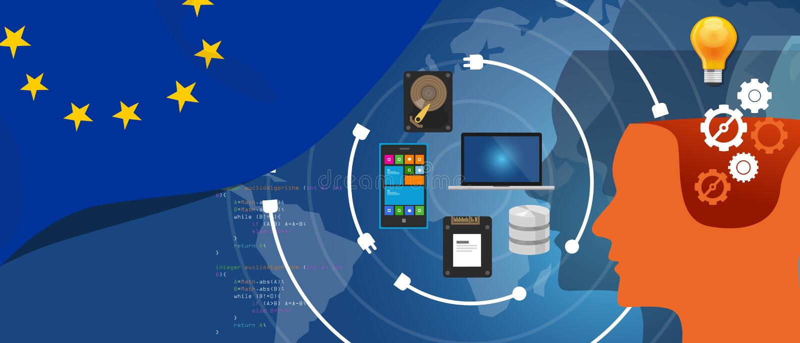 IT van Europa informatietechnologie digitale infrastructuur verbindende bedrijfsgegevens via Internet-netwerk die computer met be stock illustratie
